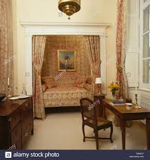 French Country Bedroom Furniture Patterned Drapes On Alcove Bed In Eighties French Country Bedroom