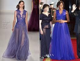 obama dresses obama in tadashi shoji white house state dinner