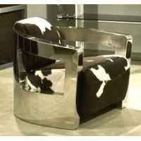 canape deco cuir fauteuil mars en cuir naturel noir et blanc avec finition en acier