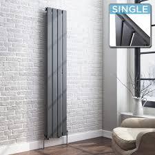 vertical round column anthracite bathroom radiator single panel