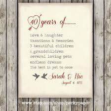 40 year wedding anniversary gift 40th ruby anniversary anniversary gift for parents