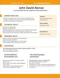 Resume Sample Template Pdf by Sample Resume Format For Fresh Graduates One Page Pdf Sin Splixioo