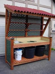Redwood Potting Bench I Like The Awning If You Add A Shelf You Could Use It To Keep