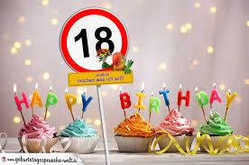 lustige geburtstagssprüche 18 18 geburtstag geburtstagswünsche mit schild und alter auf karte
