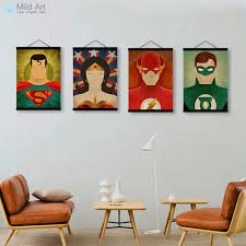 superhero movie wooden framed canvas painting batman ironman