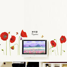 Poppy Home Decor by Bright Red Corn Poppy Beautiful Diy Wall Wallpaper Stickers Art