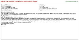 deposit refund clerk application letter