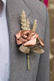 Gold Boutonniere Copper And Wheat Buttonhole Paper Boutonniere Mens