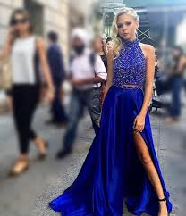 two piece royal blue prom dress long prom dress with side slit