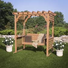 cedar pergola swing front yard between the two oaks facing curve