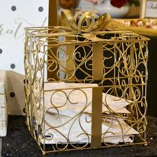 wedding gift card holder gold metal gift card box