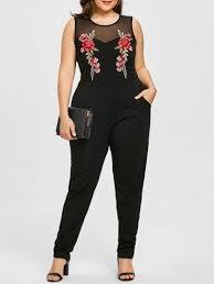 plus size jumpsuit black 3xl plus size sleeveless mesh yoke embroidery jumpsuit