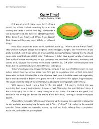 curry time reading comprehension worksheet