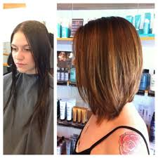 before and after total transformation long bob balayage