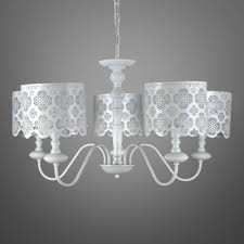 White Chandelier With Shades Beautiful White Hollow Out Floral Designer 5 Light Chandelier With