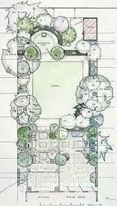 garden design plan with main square lawn and hidden rear circular