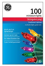 ge string a long 100ct miniature multicolor christmas lights green