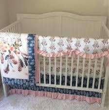 Denim Crib Bedding Pink And Navy Blue Crib Bedding