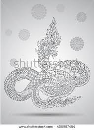 king snake outline thai tradition thai design vector illustration