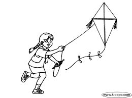 color kite flying scene kites worksheets scene