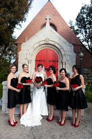 black and white wedding bridesmaid dresses and groom in white bridal in black weddingbee