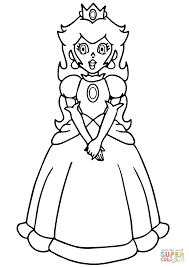 super mario princess peach coloring page free printable coloring