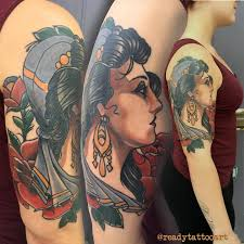 outer arm traditional gypsy tattoo by frank ready tattoonow