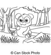 vectors of panda bear coloring page cartoon illustration of