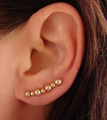 ear pins ear pins chagne gold glass pearls and gold earrings