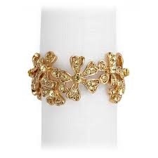 l objet gold garland napkin rings swarovski crystals set nj7001