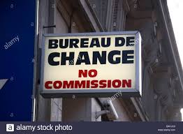 the shop bureau de change a generic bureau de change no commission sign above a shop on
