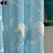 White And Blue Curtains Blue Curtains Bird Branches Sheer Curtains White Tulle Window