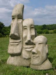 set of 3 easter island heads tiki statue berkshire