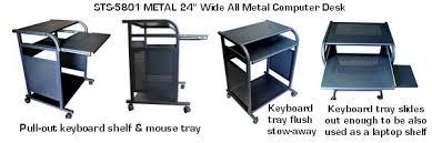 Small Metal Computer Desk Sts5801 Metal Narrow 24 Inch Black All Metal Computer Cart