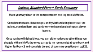 gcse higher indices standard form and surds unit 12 lessons