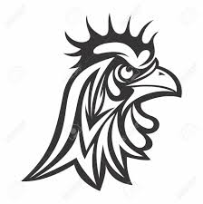 vector black white angry rooster outline of artistic tribal