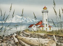 Nautical Painting Point Wilson Lighthouse Painting That U0027s Mt Baker In The