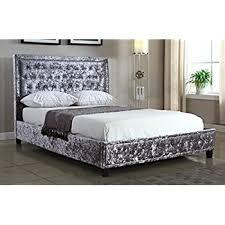 Studded Bed Frame Silver Crushed Velvet Upholstered Designer Bed Frame 4ft6