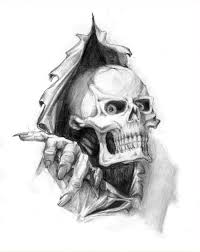 ripped skin skull tattoo design