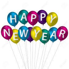 happy new year balloon multi coloured happy new year balloon card royalty free cliparts