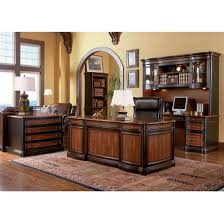 piece two toned grand style home office executive set by coaster