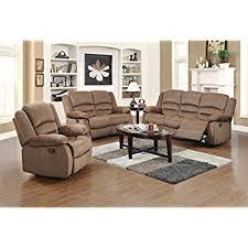 fabric recliner sofas amazon com us pride furniture 3 piece light brown fabric