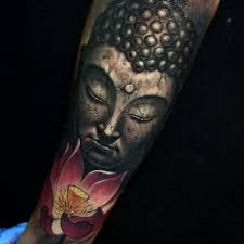 ultimate pink lotus and portrait buddha face tattoo design