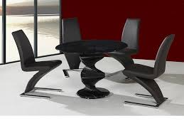 black round dining table set round twirl glass dining table and 4 chairs in black homegenies