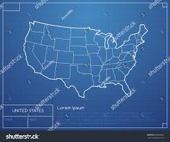 The United States Of America Map by Blueprint Map United States America Vector Stock Vector 580564897