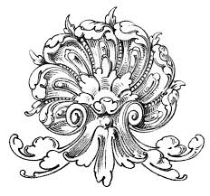 vintage ornamental clip art shell with scrolls the graphics fairy