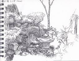 japanese garden ink sketch by shironinja on deviantart