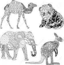 Animal Ornaments Four Animals In Ethnic Ornaments Royalty Free Cliparts Vectors