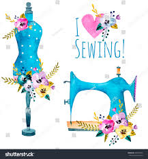 vintage sewing machine fashion mannequin isolated stock vector