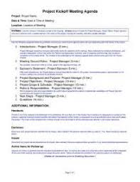 sample kick off meeting agenda template resume submission